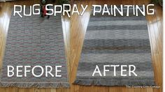 How to Spray Paint a Rug ~ * THE COUNTRY CHIC COTTAGE (DIY, Home Decor, Crafts, Farmhouse)