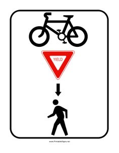 Using only symbols, this traffic sign indicates the bicyclists have to yield to pedestrians. Free to download and print