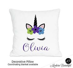 This personalized unicorn pillow is so cute! Unicorn Pillow, Long Pillow, Unicorns, Flower Pots, Decorative Pillows, Blanket, Birthday Ideas, Cute, Beautiful