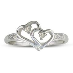 Double Heart Diamond Promise Ring ( Availabe Sizes 4-9),