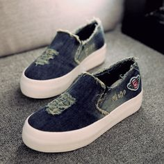 New Womens Flats 2015 Casual Jean Canvas Casual Slip On Round Toe Thick Sole Vintage Shoes KJ174-in Loafers from Shoes on Aliexpress.com | Alibaba Group