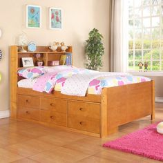 The functional design of this Captain's Bed from Boraam Industries is a great staple for your kid's bedroom or a guestroom. With available headboard storage and drawers underneath, this bed offers ple...