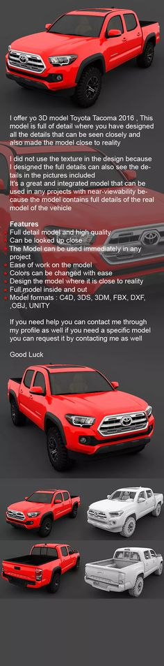 Buy Toyota Tacoma 2016 by LaythJawad on I offer yo model Toyota Tacoma 2016 , This model is full of detail where you have designed all the details that ca. Toyota Tacoma 2016, Toyota 4x4, Toyota Cars, Real Model, Car Ford, Japanese Cars, 3d Design, Automobile, Vehicles