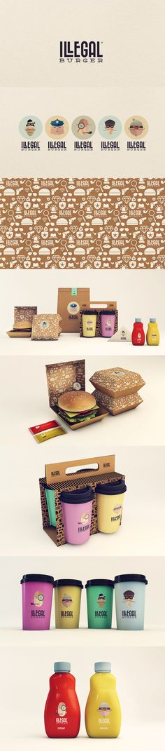 Unique Branding Design, Illegal Burger #branding #design (http://www.pinterest.com/aldenchong/)