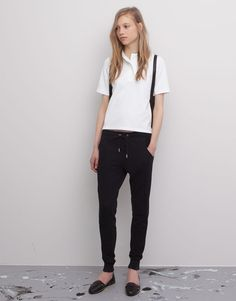 Pull&Bear - mujer - pantalones  - pantalón jogging cordón cintura - negro - 05690320-I2015
