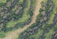 The Rocky Highlands, a battle map for D&D / Dungeons & Dragons, Pathfinder, Warhammer and other table top RPGs. Tags: wilderness, road, plains, mountain