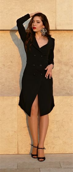 #orovica #orovicafashion #blazerdress #tuxedo #doublebeasted Blazer Dress, Shirt Dress, Double B, Tuxedo Dress, 21st, Shirts, Outfits, Black, Dresses