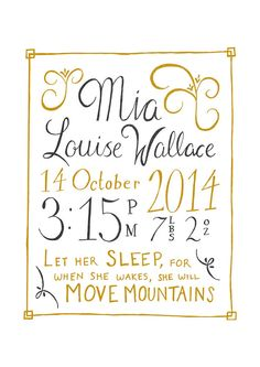 Personalised Hand Lettered Birth Announcement by TheDumboOctopus on Etsy