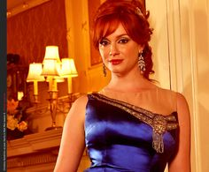 Christina Hendricks as Joan Harris dress jewellery red lipstick Mad Men season 6