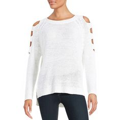 Design Lab Lord & Taylor Knit Cold Shoulder Sweater ($20) ❤ liked on Polyvore featuring tops, sweaters, white, cold shoulder tops, cutout shoulder sweater, white pullover sweater, long sleeve sweaters and ribbed knit sweater