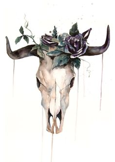 ORIGINAL Watercolor Painting - buffalo skull black rose - hipster Illustration - Animal Painting - Home Decor - Wall Decor by WatercolorMary on Etsy https://www.etsy.com/dk-en/listing/267648050/original-watercolor-painting-buffalo