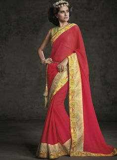 Hot Pink Embroidery Work Georgette Designer Party Wear Sarees  #Wedding #Bridal #designer #Saree       http://www.angelnx.com/Sarees