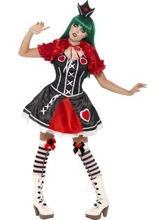 Gothic Queen of Hearts Costume, with Dress, Cape and Crown