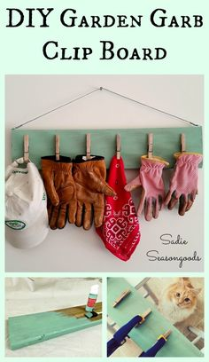 Keep your garden and outdoor gear organized with a garden garb clip board. Upcycled salvaged wood and vintage clothespins make for a simple but effective way to keep your gloves, hats, and kerchiefs in the same place and hung to dry. #SadieSeasongoods