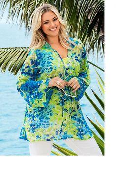 Plus Size Women's Fashion - Sara Print Sequin Tunic - EziBuy Australia
