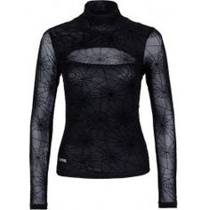 Transparent spider web shirt with high collar