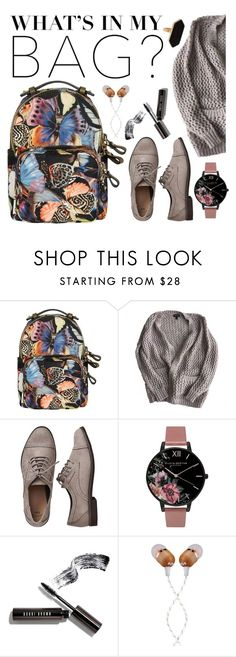 """""""To school with style"""" by michela-gargiulo ❤ liked on Polyvore featuring Valentino, Topshop, Gap, Olivia Burton, Bobbi Brown Cosmetics, The House of Marley, Jaeger, backpack and inmybackpack"""