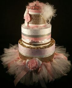 3 Tier Pink & Gold Princess DIAPER CAKE w/ tutu skirt  tiara