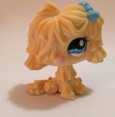 Littlest Pet Shop Yellow Sheep Dog with Blue Bow #1257 Mop Puppy Shaggy LPS #Hasbro