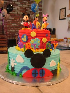 Mickey Mouse Clubhouse Cake @Amber Channell I need you to learn how to make this. Thanks :)