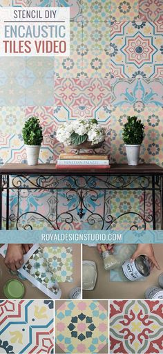 How to Stencil VIDEO Tutorial: Patterned and Painted Encaustic Tile Wall Decor - Tile Stencils & Chalk Paint by Annie Sloan from Royal Design Studio