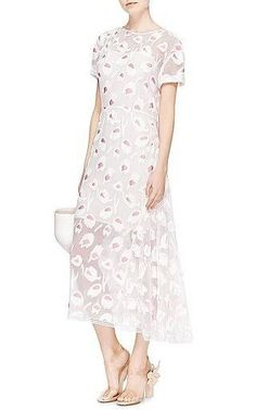 Nina Ricci - Rose Pivoine And Natural Floral Fils Coupes Dress