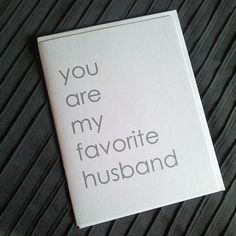 You are my favorite husband  note card for by papersoulstudios, $2.25