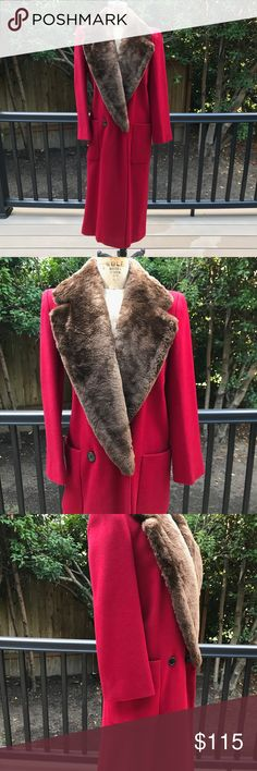 Red Perry Ellis Winter Coat  💃 💃 Perry Ellis Red Wool Melton Coat W/ Beaver Fur Collar Womens Size 2. Real beaver fur. Made in USA.  Center Back Length - 48 Perry Ellis Jackets & Coats