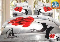 Pościel na łóżko w kolorze szarym z zakochaną parą i czerwonymi balonami