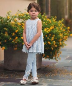 Trish Scully Child Blue Alvina Dress & Leggings - Infant, Toddler & Girls   zulily