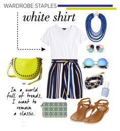 """""""White shirt"""" by amybaby13 ❤ liked on Polyvore featuring BCBGMAXAZRIA, Topshop, New Look, BaubleBar, Rebecca Minkoff, Bounkit, Casetify and WardrobeStaples"""