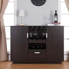 Liquor Storage Cabinet Buffet with Drawers in Brown  Dining Server is Great for Storage of Your Favorite Bottles of Wine Liquors Glassware Dishes and Accessories Bundle w Floor Protector Pads >>> To view further for this item, visit the image link. (This is an affiliate link) #winecabinets Liquor Storage, Wine And Liquor, Wine Cabinets, Buffet, Bottles, Drawers, Image Link, Floor, Dishes