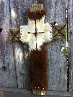 Rustic Cow Hide Wooden Cross by GoneRopinDecor on Etsy, $49.99