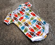 Baby Handmade Onesie (body suit)  Colorful Owl Print by SunnuBunnu on Etsy
