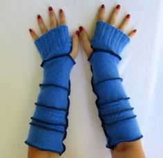 Recycled Sweater Fingerless Gloves Arm Warmers Soft Blue Gypsy Gift Upcycled Clothing Gloves by ThankfulRose on Etsy