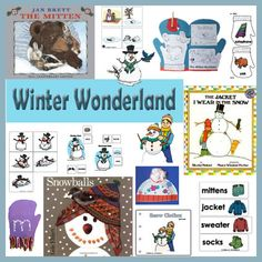 Winter Wonderland Theme with all new crafts, activites, folder games, literacy lessons for the books The Mitten, Snowballs, and The Jacket I Wear In The Snow.