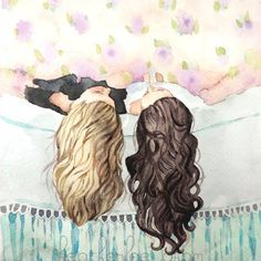 Best Friends Art - Sisters - Watercolor Painting by Heatherlee Chan Bff Drawings, Drawings Of Friends, Cool Drawings, Paintings For Friends, Art And Illustration, Friends Illustration, Painting Prints, Painting & Drawing, Wow Art