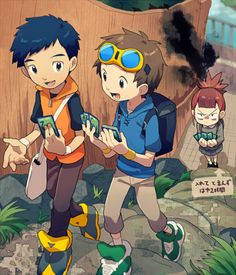 OMG I really love Henry and Rika in tamers because Rika is the Digimon Queen and Henry is the sweet kid who can't fight for carp! Digimon Anime, Digimon World, Dog Face Drawing, Digimon Wallpaper, Digimon Frontier, Digimon Tamers, Digimon Digital Monsters, Digimon Adventure Tri, Fanart