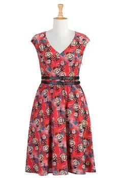 Precious Coral Print Dresses, Floral Crepe Dresses Shop Women's Designer Dresses, Silk Dresses, Black Dresses, Women's Special Occasion Dres...