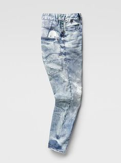 Raw For The Oceans - Type C 3D Tapered Jeans Blue Ripped Jeans Men, Orange Jeans, Denim Pants, Short Jeans, Jeans Fabric, Tapered Jeans, Denim Fashion, Jeans Style, How To Wear