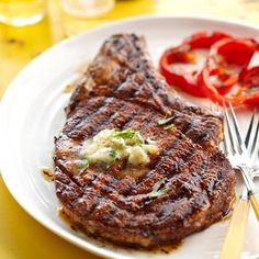 When it's nice outside, you can not go wrong with a perfectly grilled steak. And this Cowboy Rib Eye Steak and Whiskey Butter recipe is to die for. It's like meat heaven on a plate. Print Cowboy Rib Eye Steak and. Best Grilled Steak, Grilled Steak Recipes, Grilling Recipes, Meat Recipes, Cooking Recipes, Drink Recipes, Think Food, I Love Food, Food For Thought