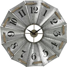 """Oversized 29"""" Aluminum and Rope Wall Clock ($124) ❤ liked on Polyvore featuring home, home decor, clocks, modern home accessories, modern clock, modern home decor, modern wall clocks and aluminum wall clock"""
