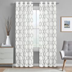 Bring a stylish, modern look to your window space with the J. Queen New York Diamond Grommet Window Curtain Panel. Boasting a subtle, metallic embroidered geometric design, this light-filtering panel will add a luxurious element to any room. Grey And White Curtains, Aqua Curtains, Colorful Curtains, Window Curtains, Grey Curtains Bedroom, Master Bedroom, Blue Drapes, Patterned Curtains, Bedroom Retreat