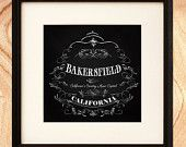 Bakersfield California Art Print - Chalk Art - California's Country Music Capital - California - CHK044-10X10 - Print Only