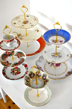 New cake stands from vintage plates
