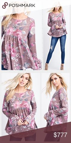 🌺AVAILABLE🌺 Floral Print Mauve Babydoll Top. This Floral Print, Raw Edge Knit, Babydoll Top Features a Gathered Waist and Ruffled Sleeves. Made in USA 🇺🇸 Available in S-M-L Tops Tunics