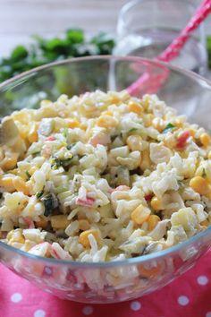 Sałatka z ryżem i paluszkami surimi | Tysia Gotuje blog kulinarny Snack Recipes, Snacks, Pasta Salad, Tasty, Cooking, Ethnic Recipes, Impreza, Diet, Salad