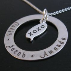 Brisa mother necklace with xoxo text bubble charm