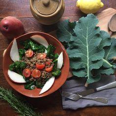 broccoli leaf, pear and lentil salad