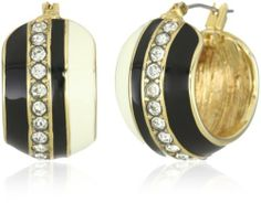 "Anne Klein ""Saturnalia"" Gold-Tone Ivory, Jet and Crystal Hoop Earrings Anne Klein. $28.00. Made in CN. Made in China"